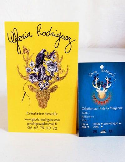 Carte de visite Gloria Rodriguez créatrice textile